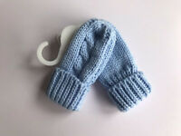 Baby Boy's Blue  Knitted Cable Pattern Mittens will fit 0 - 12 months