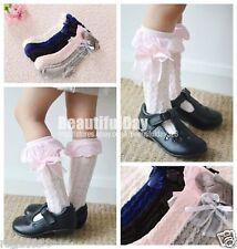 Lovely Girls Kids Toddler Cotton Knee High Socks Colours Silk Bow