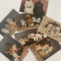 Antique Cat Postcard Lot 7 Fluffy Persian Kittens Cats Germany Sophie Sperlich