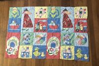 """Vintage Handmade Baby Blanket Quilt 42"""" X 29"""" Toddler Bed Wall Hanging Fabric"""