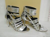 Michael Kors New Womens Shiloh Silver Leather Open Toe Heels 8.5 M Shoes