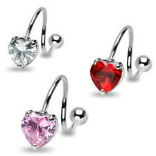 B#167 - 3pc Heart Gem Spiral 14g Belly Rings Navel naval 316L Surgical Steel