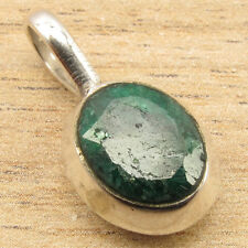 Gifts For Girl Friend Simulated EMERALD Little Pendant 1 Inch, 925 Silver Plated