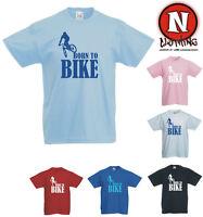 Born to Bike mountain biking BMX cycling kids childrens T-shirt 3yrs upto 13yrs
