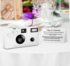 8 pack PERSONALIZED Double Hearts Disposable Camera, wedding, party, anniversary