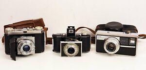 Three Vintage Kodak Cameras Instamatic 500, Kodak Bantam, Kodak Retinette