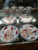 """VARIATIONS BY FITZ AND FLOYD 1979 4 mugs & 4 lunch plates 7 1/8"""". Beautiful"""