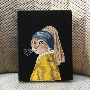 Hand made book clutch Cat With A Pearl Earring