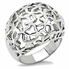Ladies Stainless Steel Dainty Design Wide Silver Dome Ring Size 7 US N AU