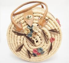 "Round Basket Purse Coiled Raffia Flowers Leather Handles Vintage 12"" Sewing Yarn"