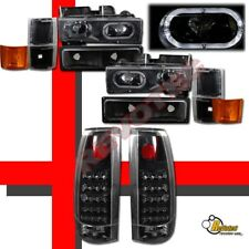 1994-1998 Chevy Suburban Silverado Halo Headlights Set & LED Tail Lights Black