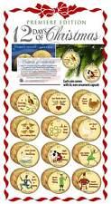 TWELVE DAYS OF CHRISTMAS 24K Gold Plated JFK Half Dollars 12-Coin Set Ornaments
