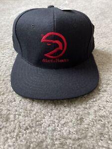 Vintage NBA Atlanta Hawks Snapback Hat Black NWT Wool blend