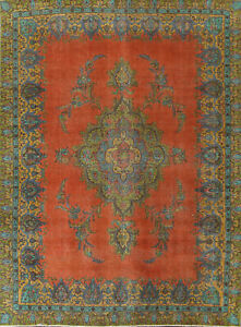 Overdyed Semi-Antique Floral Traditional Oriental Area Rug WOOL Handmade 9x12