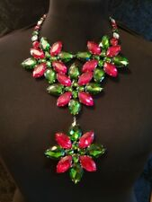 blingblingbling uk  costume jewellery necklace red green