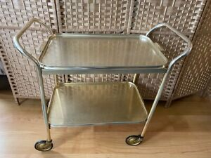 Gold 2 Tier  Drinks Bar Hostess Tea Trolley Carefree