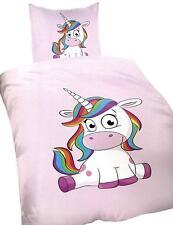 Kinderbettwäsche Microfaser Einhorn Unicorn Pink 135x200 cm + 80x80 cm
