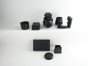 Zenza Bronica ETR SLR + Zenzanon MC 1:2.8 f=75mm 1:3.5 f=105mm + AE-II + hood