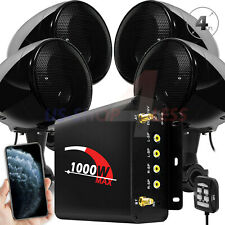 1000W Amplifier Bluetooth Motorcycle Stereo 4 Speakers Audio Amp System FM Radio