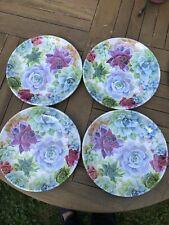 New listing Nicole Miller Purple Cactus Flower Blooms Melamine Dinner Plates Set 4