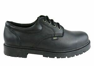 Roc Magnum Senior Lace Up Black Leather Comfortable School Shoes