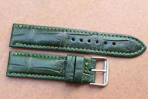 18mm/24mm Genuine Crocodile Alligator Skin Leather Watch Strap Band With Buckle