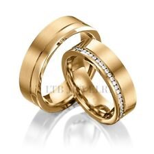 10K SOLID YELLOW GOLD DIAMOND HIS & HERS MATCHING WEDDING BANDS RINGS SET