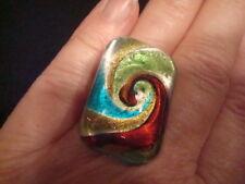 Vtg Artisan 80's Glass Swirl Sparkle Design Ring Green Teal Silver Burg-Rust Adj