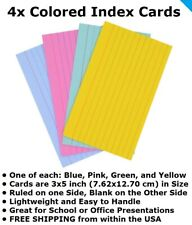Index Cards 4 Pcs One Of Each Color Lined Note Cards Ruled 3x5 Free Ship