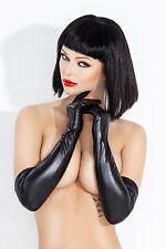Neu Damen PVC Lange Handschuhe Schwarz ala Lack Erotik Sexy 44cm Kostüm