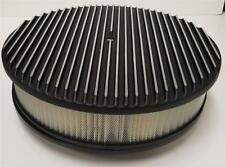 """14"""" Raised Finned Aluminum Air Cleaner Filter recessed BLACK Chevy Ford GM Round"""