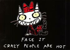 Rare Postcard Sweetypuss Face it Crazy People are Hot, Cat Slogan Comic Funny