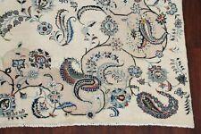 VINTAGE LIGHT COLOR Floral Oriental Area Rug Hand-Knotted IVORY Carpet Wool 8x13