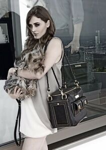 New Black leather luxury high end small pet carrier purse
