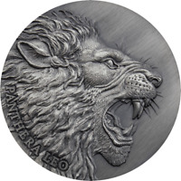 2020 Cameroon Panthera Leo Lion 2 oz .999 Silver Antiqued Coin - Mintage 500