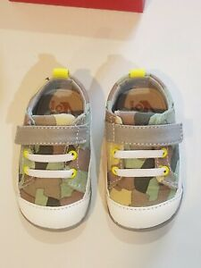 New Smaller by See Kai Run,Stevie ll Camo green canvas early walkers shoes,3,NIB