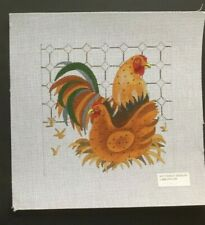 Bettieray Designs Hand-painted Needlepoint Canvas Colorful Rooster & Hen