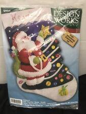 DESIGN WORKS CRAFTS FELT CHRISTMAS STOCKING KIT SIZE 16 SANTA CLAUS #5021 RETIRE