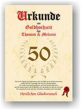 Goldhochzeit Urkunde zum 50. Hochzeitstag Geschenkidee Goldene Gold Hochzeit NEU
