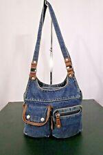 """Vintage Unbranded Blue Denim Shoulder Handbag Purse / 100% Cotton / 9"""" H x 13""""L"""