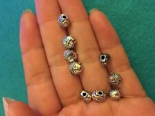 10 buddha head beads tibetan silver antique vintage tone wholesale craft UK R57