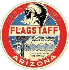 Flagstaff  AZ  Arizona    Vintage Looking  1950's Sticker Decal Luggage Label