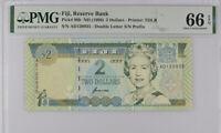Fiji 2 Dollars ND 1996 P 96 b GEM UNC PMG 66 EPQ Top Pop
