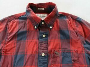 Abercrombie Mens Muscle Fit LS Button Up Red Navy Plaid Dress Shirt Large