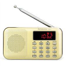 Retekess Mini Portable FM/AM Radio Rechargeable MP3 Player LED Flashlight AUX US