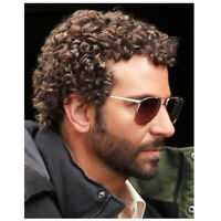 Short Curly Wig for Black Men Guy Natural Brown Afro Synthetic Hair Coplay Daily