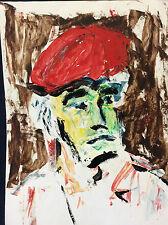Expressionnisme huile sur papier plastifié portrait expressionniste anonyme