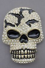 Men Women Gold Metal Belt Buckle Skull Skeleton Head Bling Large Size Halloween