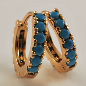 High Quality 18ct Yellow Gold Filled Turquoise 13mm Huggie Hoop Sleeper Earrings