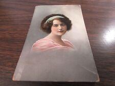 ORIGINAL ANTIQUE - VICTORIAN LADY COLOR PORTRAIT - POST CARD #3 - 1915